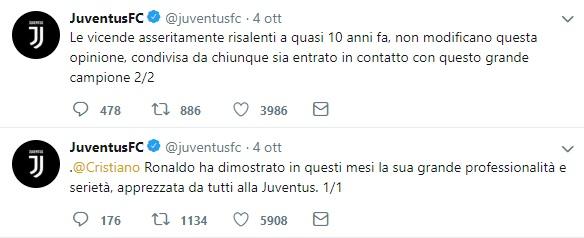 Cristiano Ronaldo i tweet della juventus